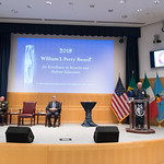 Thu, 09/20/2018 - 14:19 - On Thursday, September 20, 2018, the William J. Perry Center for Hemispheric Defense Studies honored General Salvador Cienfuegos Zepeda, Secretary of National Defense of Mexico, and Escola Superior de Guerra (ESG), National War College of Brazil, with the 2018 William J. Perry Award for Excellence in Security and Defense Education. Named after the Center's founder, former U.S. Secretary of Defense Dr. William J. Perry, the Perry Award is presented annually to individuals who and institutions that have made significant contributions in the fields of security and defense education. From the many nominations received, awardees are selected for achievements in promoting education, research, and knowledge-sharing in defense and security issues in the Western Hemisphere. Awardees' contributions to their respective fields further democratic security and defense in the Americas and, in so doing, embody the highest ideals of the Center and the values embodied by the Perry Award.