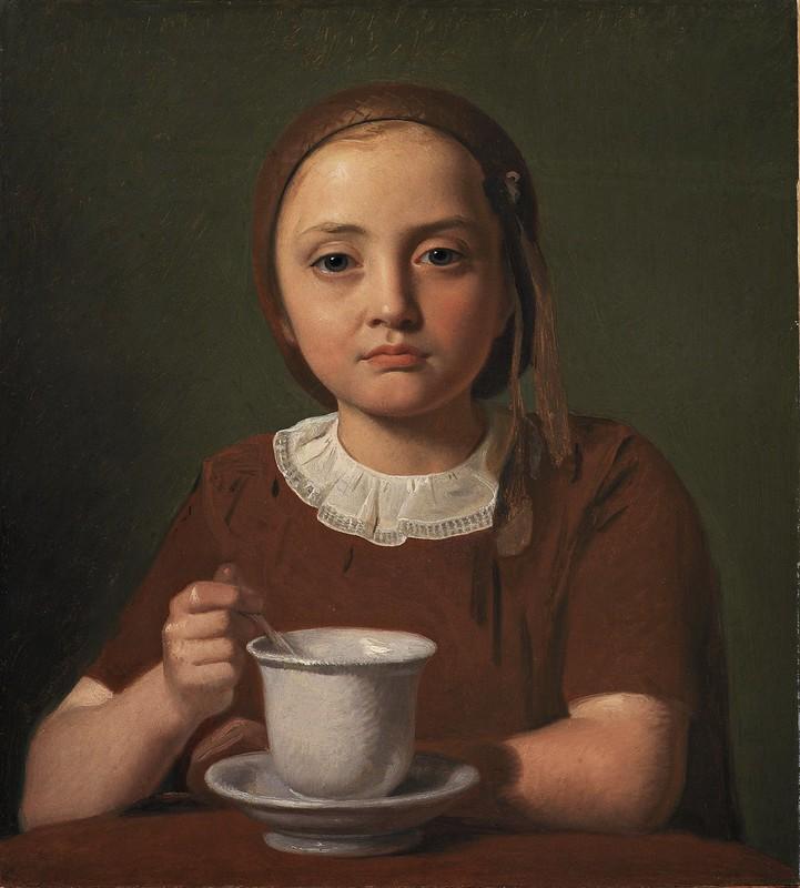 Constantin Hansen - En lille pige, Elise Købke, med en kop foran sig (1850)