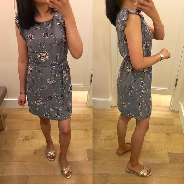 LOFT Lilac Garden Button Flutter Dress, size XSP