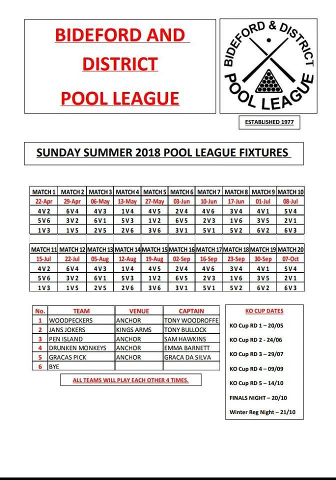 Sunday Fixtures Summer 2018 30683441398_9594d7bf90_b