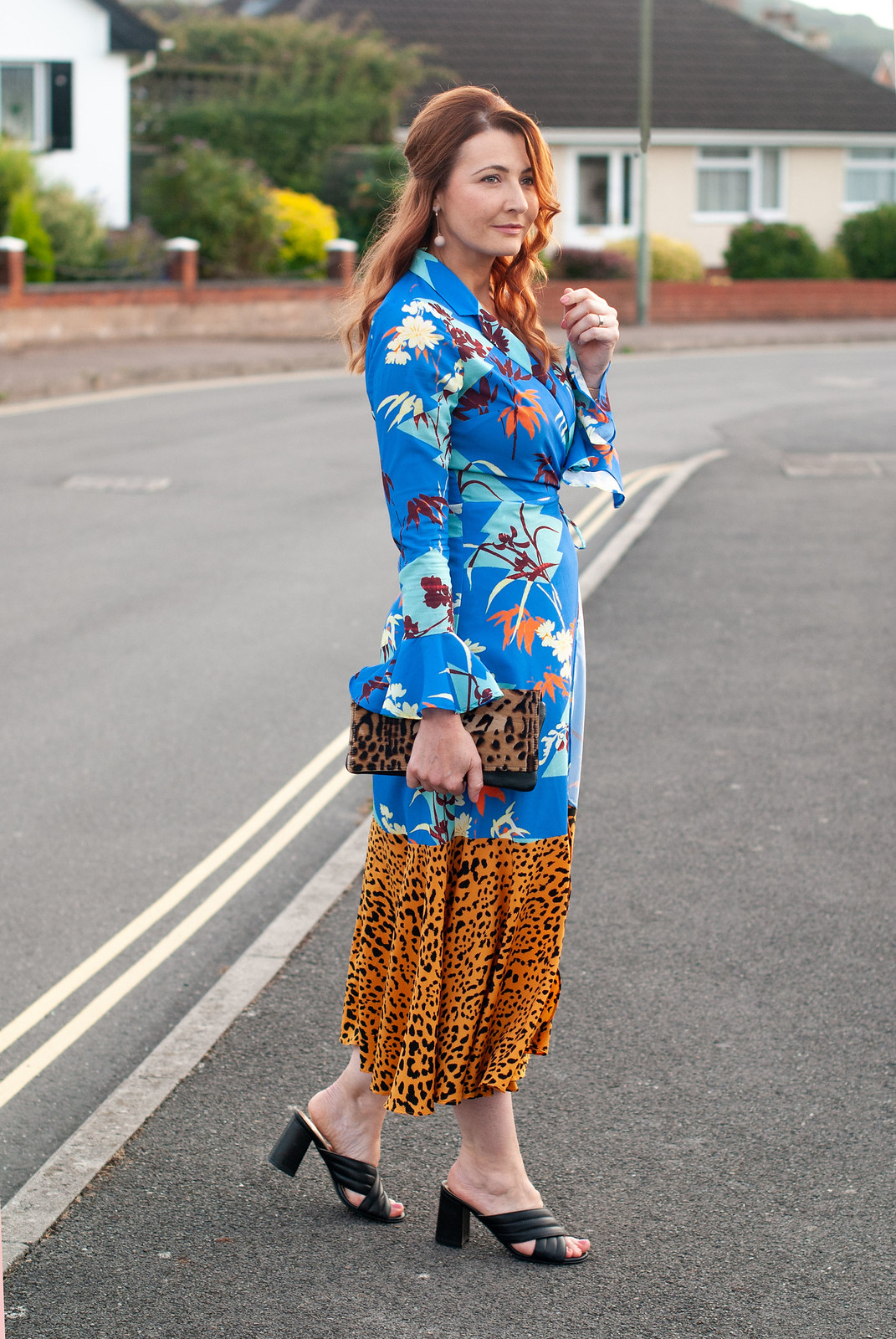 What to Wear to a Wedding Reception as an Evening Guest: A mixed pattern dress in floral and leopard print, Rixo London style | Not Dressed As Lamb, what to wear over 40