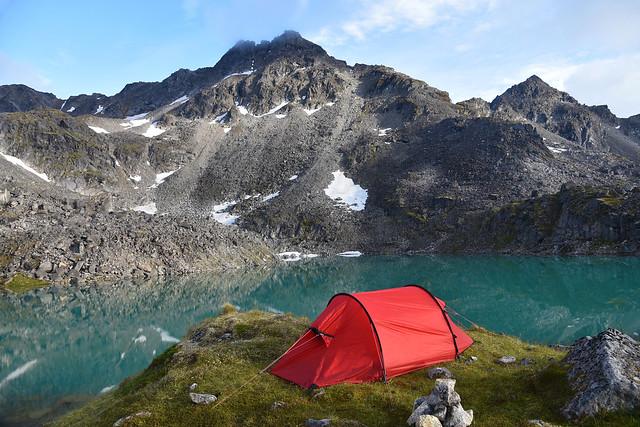 Camp at Schroff Lake. Talkeetna Mountains, Alaska
