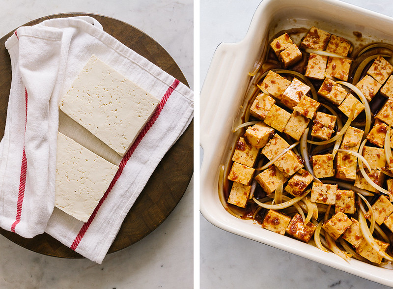 TOFU POKE BOWL: tofu marinating