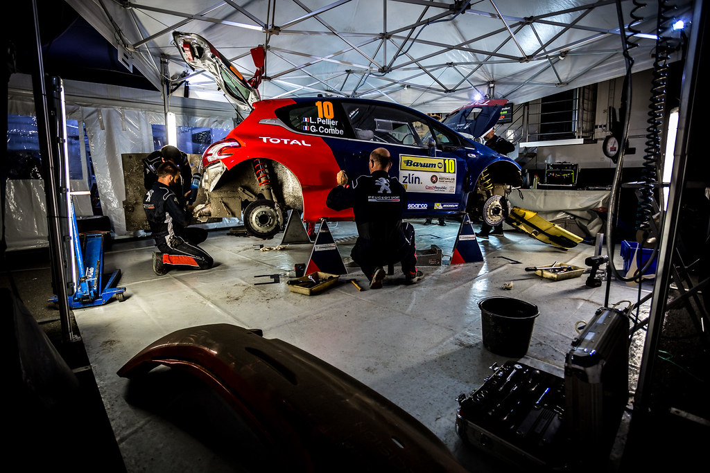 10 Pellier Laurent, Combe Geoffrey, FRA/FRA, Peugeot Rally Academy, Peugeot 208 T16 R5, service during the 2018 European Rally Championship ERC Barum rally,  from August 24 to 26, at Zlin, Czech Republic - Photo Thomas Fenetre / DPPI