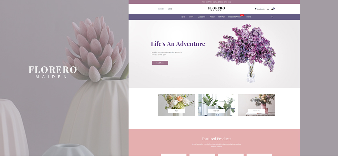 Leo Florero Free Prestashop theme - Flowers and Vases, Home Decor