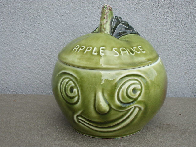 Kitschy Green Sylvac Apple Sauce Face-pot 1970's Retro Kitchenalia