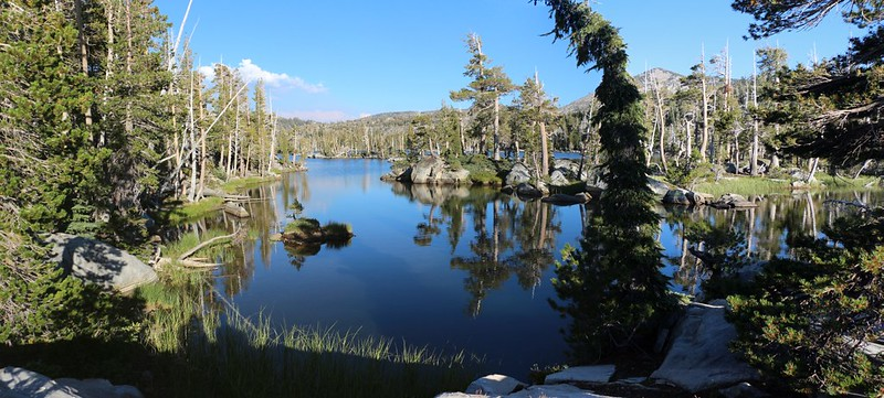 The view of Middle Velma Lake from our own private cove near our campsite, complete with tiny islands