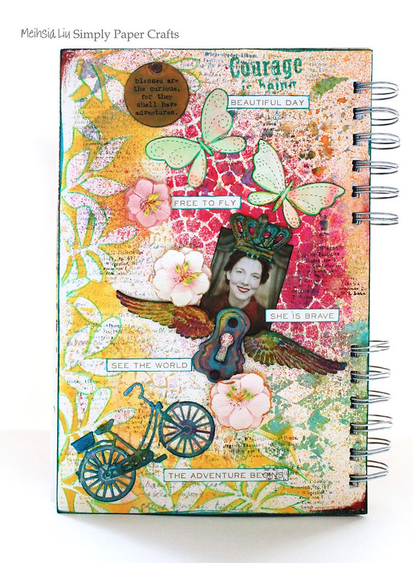 Meihsia Liu Simply Paper Crafts Mixed Media Art Journal Simon  Says Stamp Dies Tim Holtz Stencils Brave Adventure Journey 1