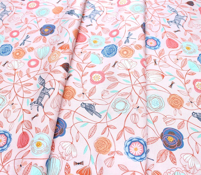 Dashwood Studio Boho Meadow BOHO 1376 Floral Animals on Pink