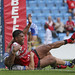 Lama Tasi celebrates after scoring for the Salford-8217