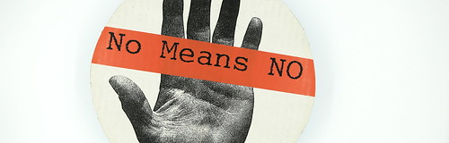 No Means NO (red), from Women's Action Coalition (WAC) Blue Dot series, 1992, designed by Bethany Johns