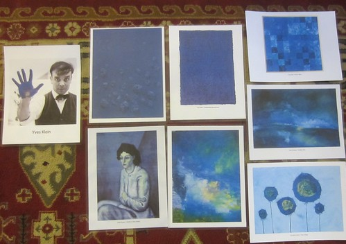 Yves Klein and some blue monochromes by various artists