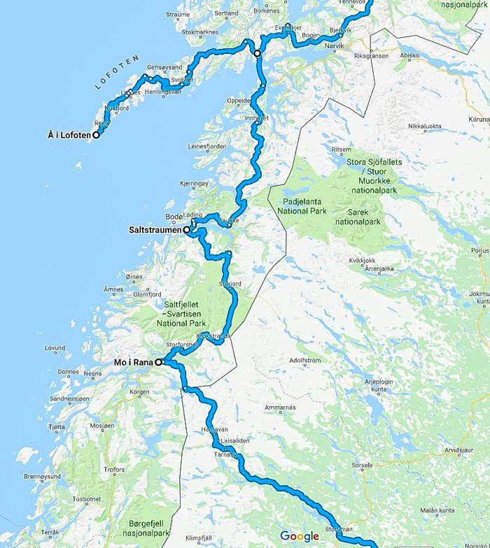 reittikartta roadtrip reittiehdotus suomi lofootit pohjois-norja