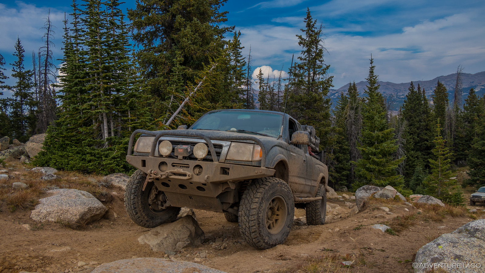 toyota tacoma in the mountains