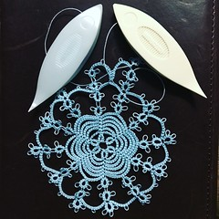 Tatting Doily in Progress