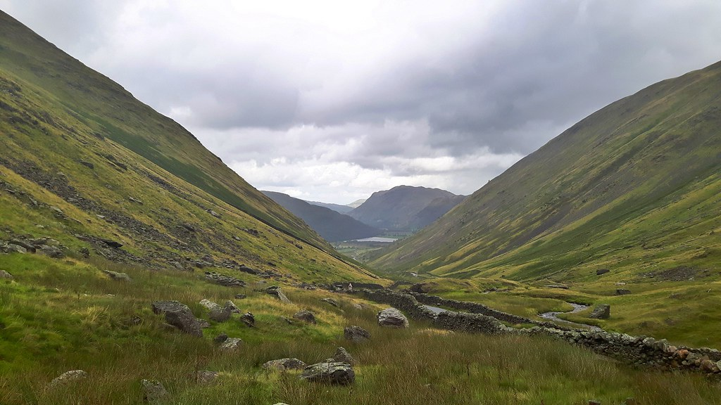 Mountainous view over Kirkstone Pass in the Lake District, England