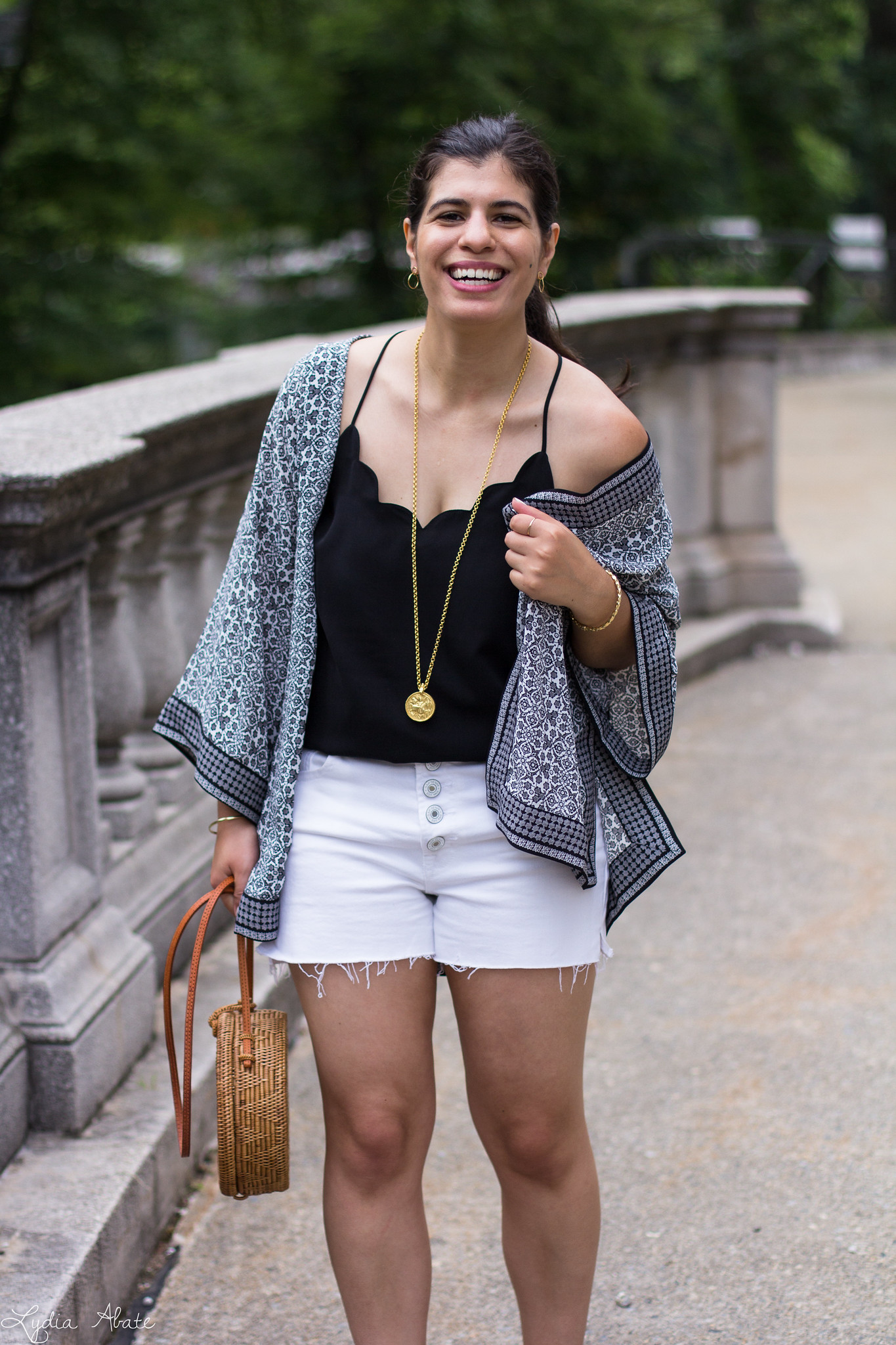 Black and White Kimono, Denim Cut-off Shorts, Round Straw Bag-9.jpg
