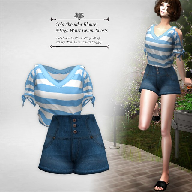 Cold Shoulder Blouse & High Waist Denim Shorts (Blue&Indigo) Group Gift