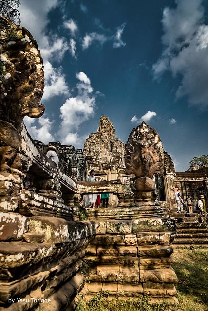 Visitors at Bayon Temple, Angkor, Cambodia-6a
