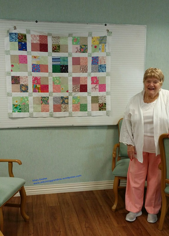 Trish with her baby quilt