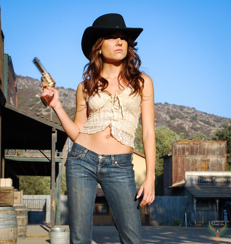 4b806830c95 Beautiful Brunette Cowgirl Model Goddess wearing Cowboy Hat Low Cut