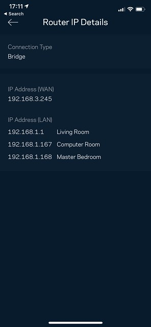 Linksys iOS App - Router IP Details