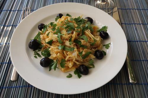Bacalhau à brás = portugisisches Fischgericht (meine Portion)