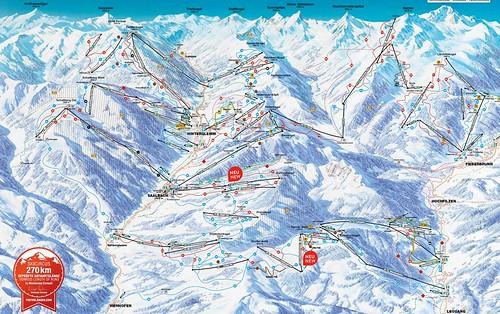 Saalbach Hinterglemm Leogang Fieberbrunn - mapa sjezdovek