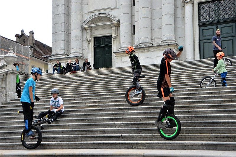 One wheel bikers on St.Ursen steps 02.09 (1)