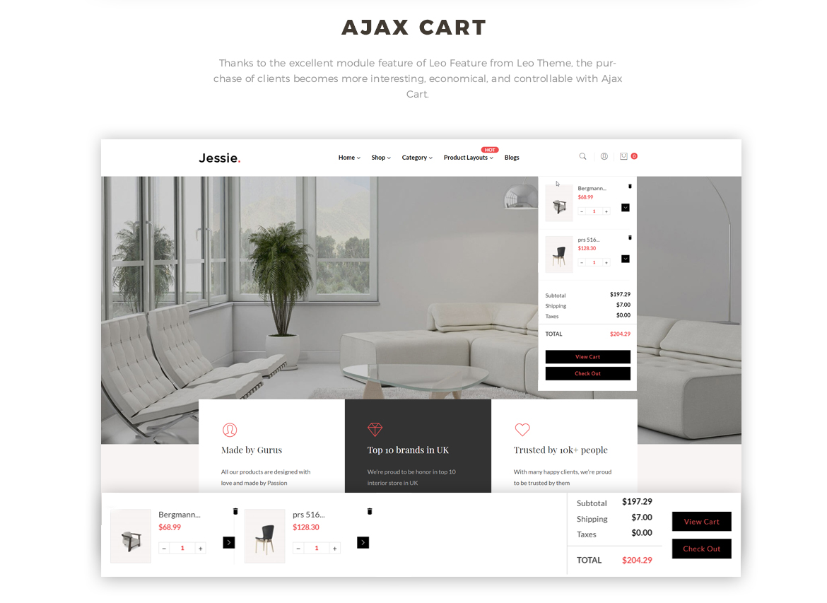 ajax add to cart - Prestashop 1.7 theme for furniture and home decor