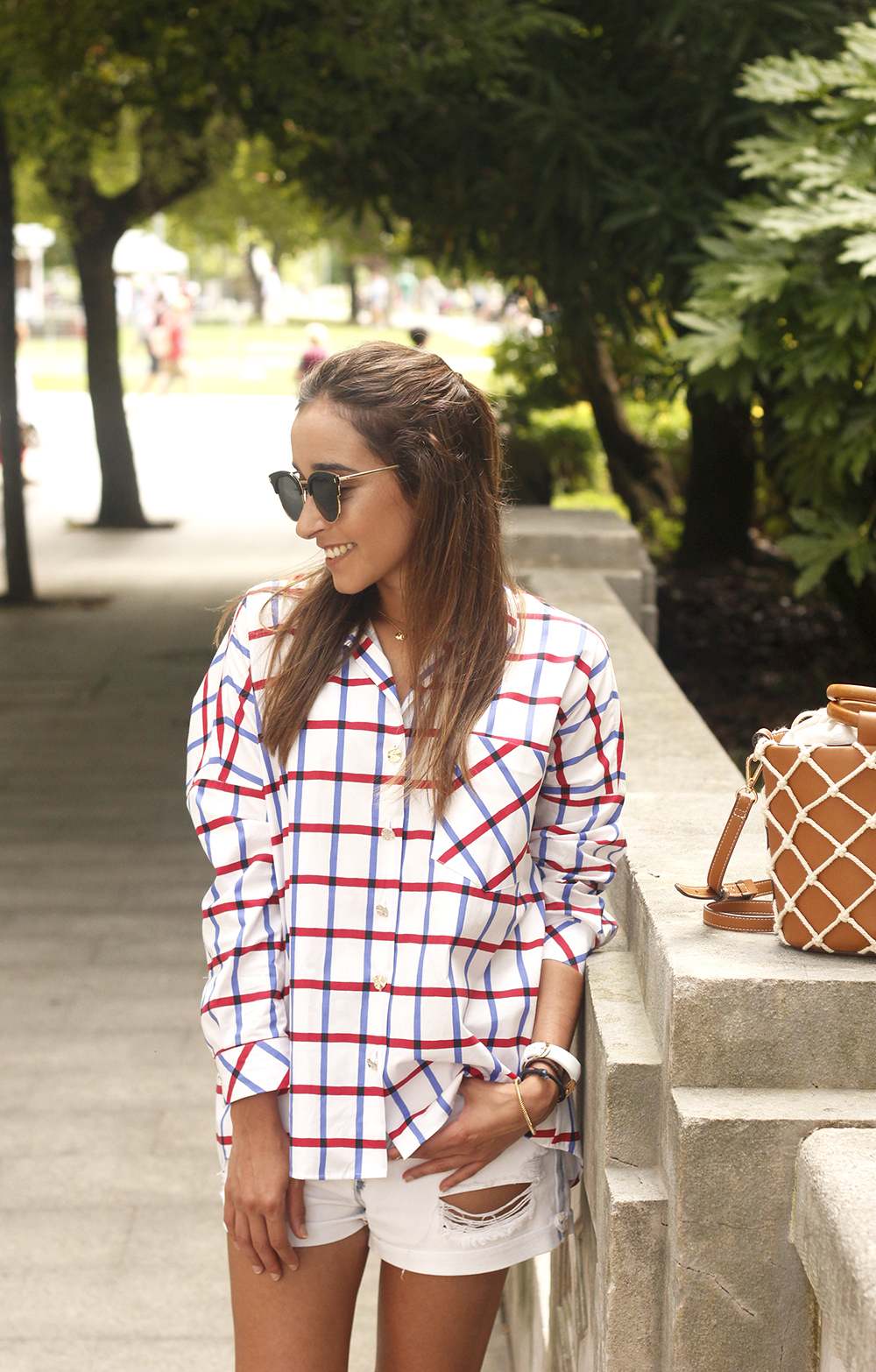 oversize plaid shirt denim shorts white mules street style summer outfit 201815
