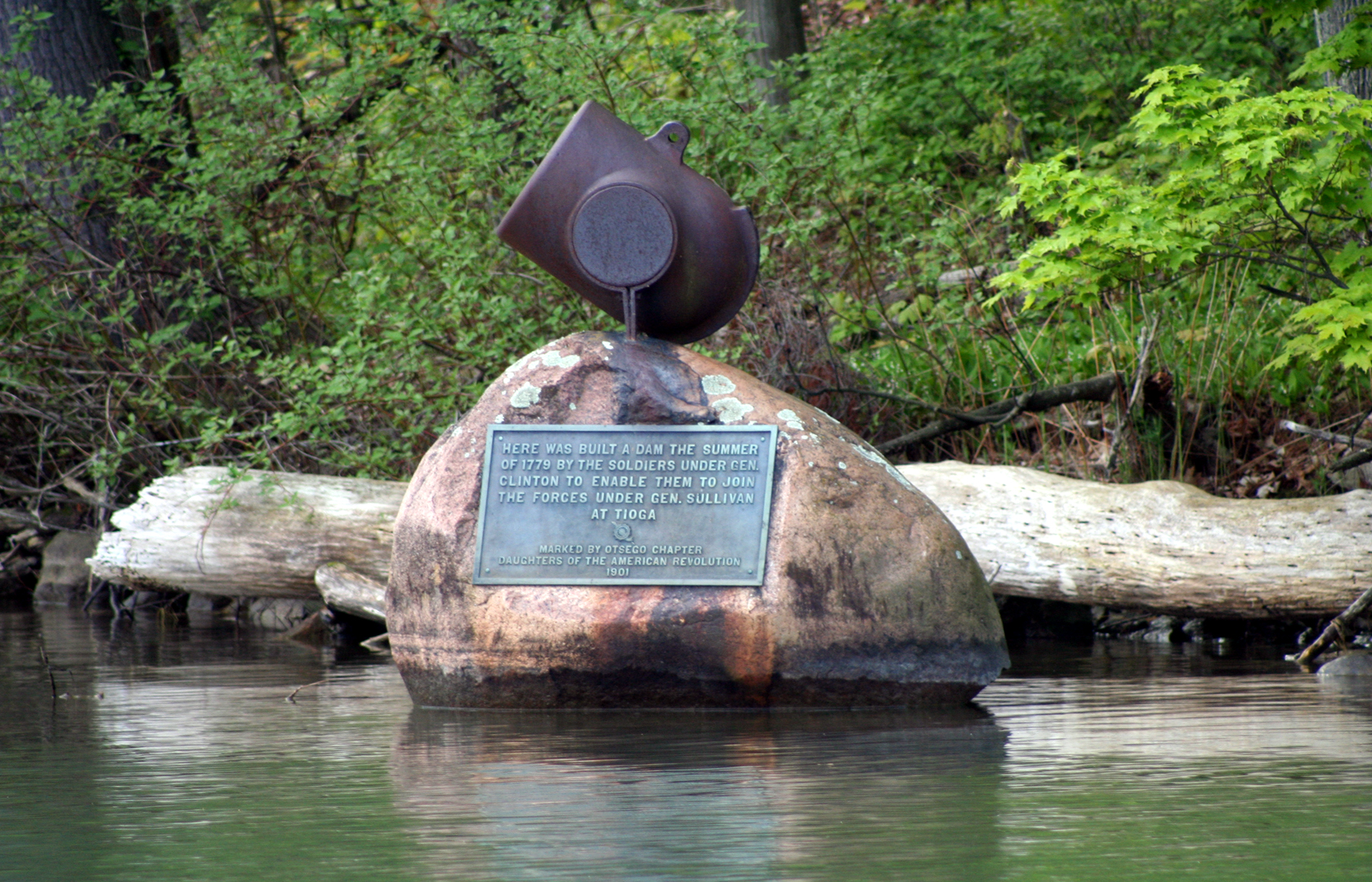 Monument at the site of General Clinton's dam at the source of the Susquehanna River on Otsego Lake in Cooperstown, New York. Photo taken by R.A. Nonenmacher on May 29, 2006.