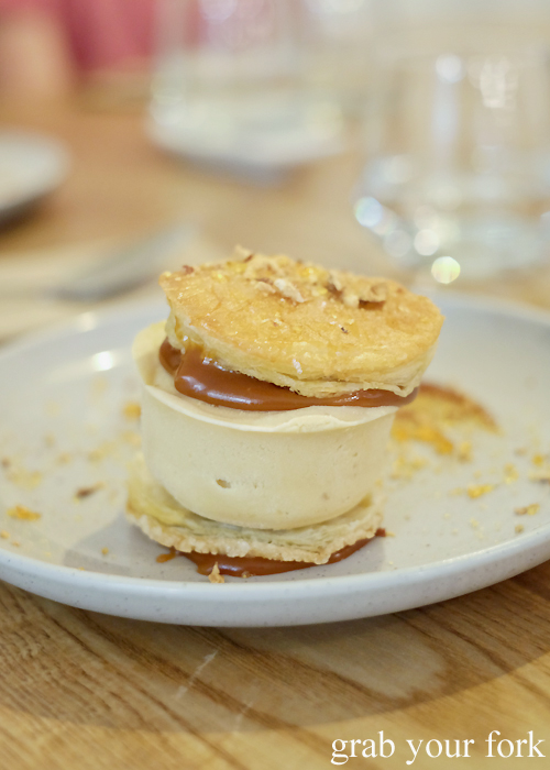 Caramel ice cream sandwich at Fich seafood restaurant in Petersham Sydney