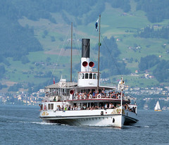 Lake Lucerne Navigation Company (SGV), Switzerland - PS Uri built in 1901 approaches Weggis with the 9.12 from Lucerne to Flüelen on the 10th July 2018
