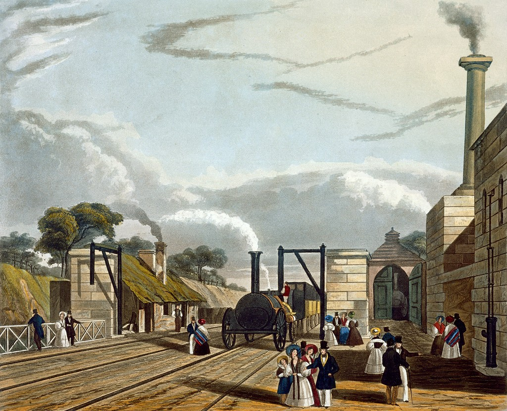 The original station at Parkside on the Liverpool and Manchester Railway, about half way between Liverpool and Manchester, where trains stopped to take on coke and water. It was here that the leading Liverpool M.P. and promoter of the railway William Huskisson was fatally injured on the railway's opening day in September 1830. The original watercolor picture by T.T. Bury (1833) is in the National Railway Museum