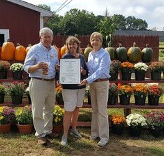To celebrate 40 years in business, Rep. Storms and Zawistowski presented a citation to Brown's Harvest in Windsor.
