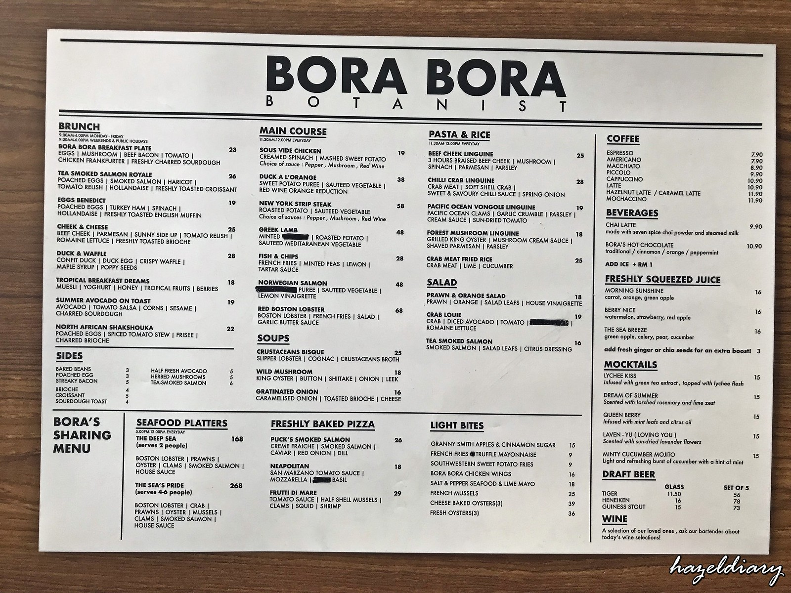 Bora Bora Botanist-Senibong Cove-Menu