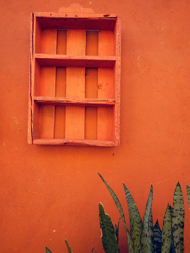 An orange wall in Puebla, a UNESCO Heritage site in Mexico