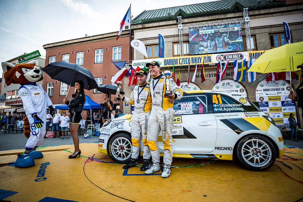 41 Kristensson Tom, Appelskog Henrik, SWE/SWE, ADAC Opel Rallye Junior Team, Opel Adam R2, podium ambiance during the 2018 European Rally Championship ERC Barum rally,  from August 24 to 26, at Zlin, Czech Republic - Photo Thomas Fenetre / DPPI