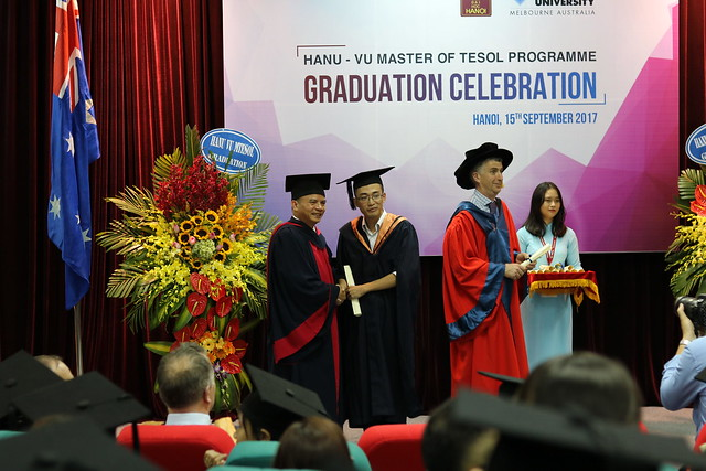 Receiving my Master degree from Victoria University and Hanoi University representatives.