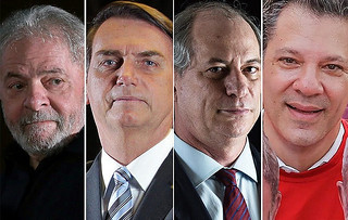 Left to right: Lula, Bolsonaro, Ciro Gomes, and Fernando Haddad. Pollster interviewed 2,000 voters - Créditos: RBA