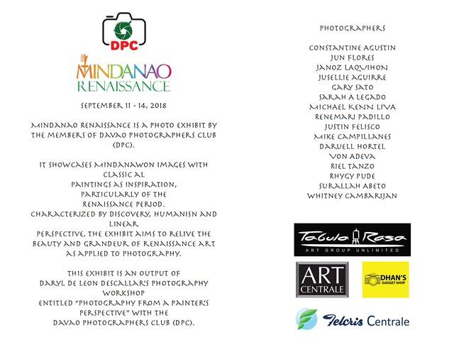 Davao Photographers Club (DPC) Mindanao Renaissance Photo Exhibit 2018 at Felcris Centrale Davao (image from DPC)