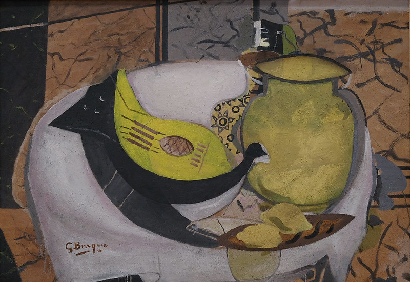 Georges Braque, Still Life with Guitar, 1936-1957, Oil and sand on canvas 8/7/18 #dallasmuseumart #artmuseum