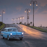 Taxi at sunset at the Malecon in Havana, Cuba