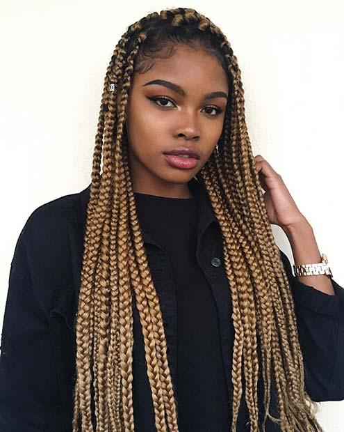 2019 Blonde Box Braids Hairstyles On Black Girl