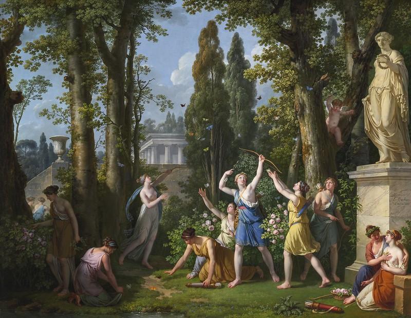 Jean-Jacques-François Le Barbier - La chasse aux papillons, an allegory of beauty attempting to restrain inconstancy