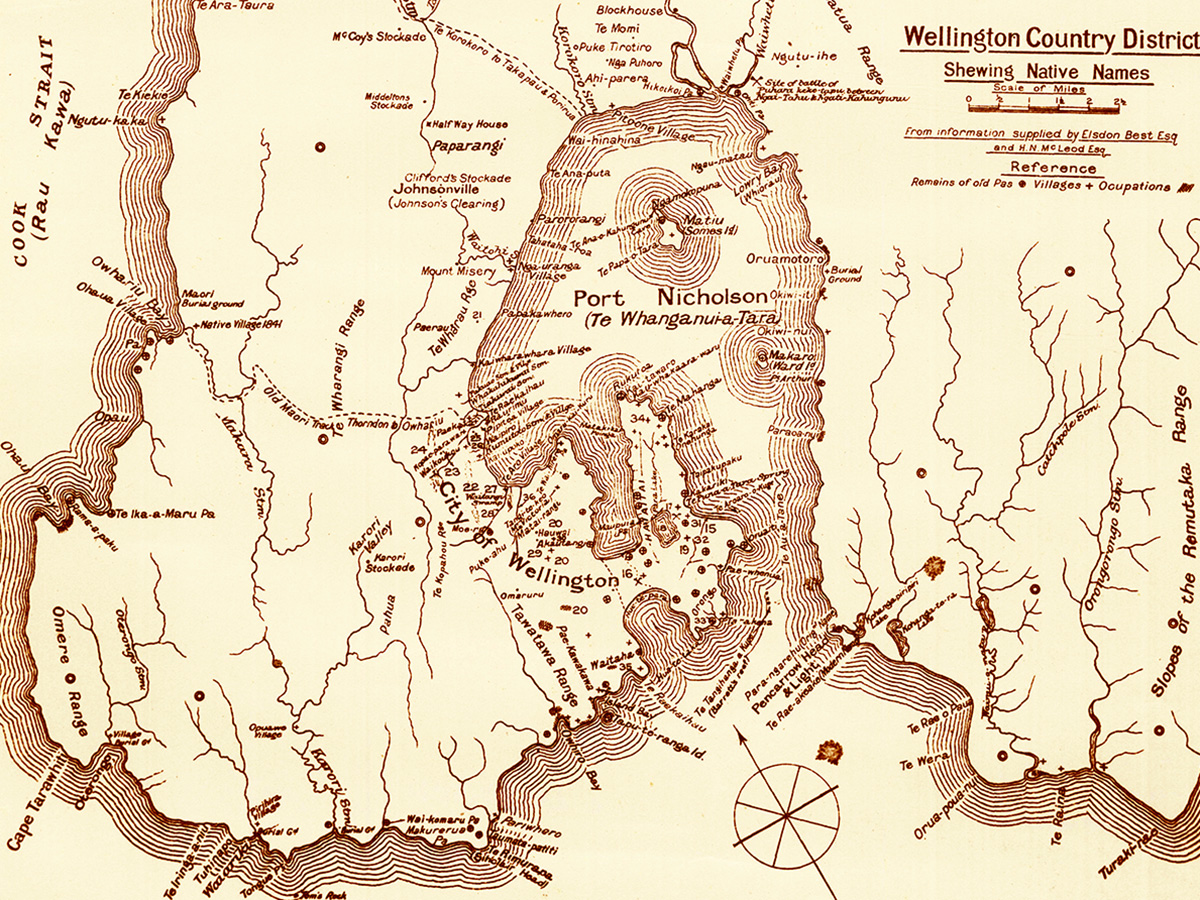 Early Map of Wellington District from Archives New Zealand that shows a number of important historical sites, Maori Pas, paths and pre 1840 battle sites, prepared from information supplied by Elsdon Best Esq and H.N.McLeod Esq.