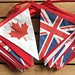 Bespoke printed Canadian and British bunting  for a wedding marquee, Newton by the Sea, Northumberland