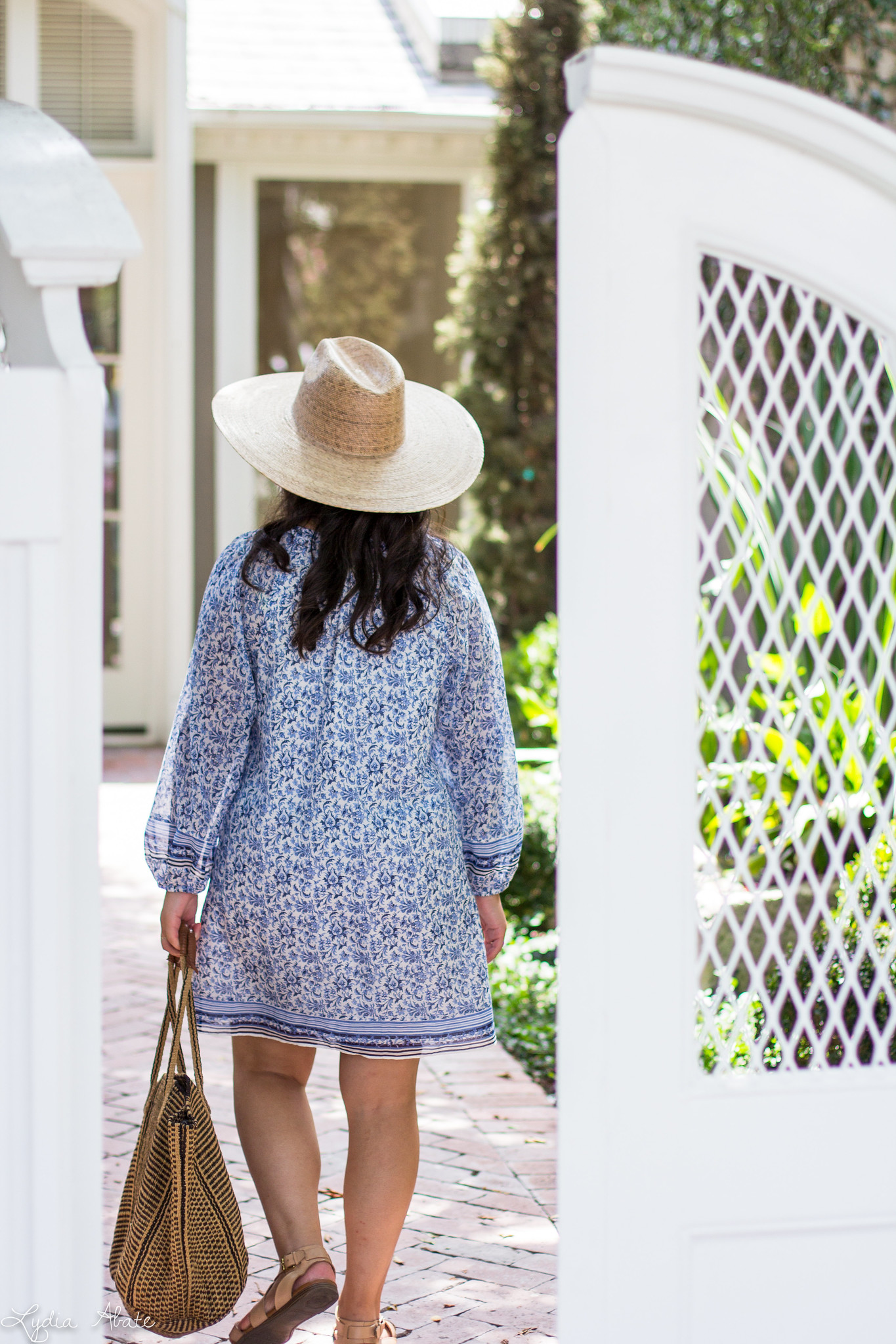blue and white joie tunic dress, lack of color straw hat, straw tote-9.jpg