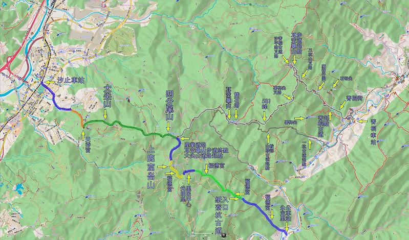 022、標示軌跡一:2018.01.06 紙寮坑古道、上鹿窟崙山、四分尾山、大尖山